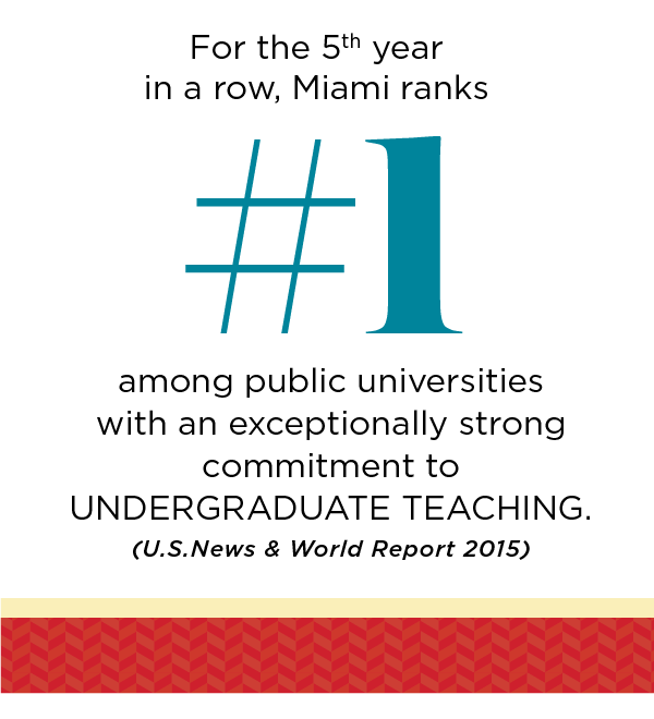 For the 5th year in a row, Miami ranks number 1 among public universities with an exceptionally strong commitment to Undergraduate teaching - U.S.News and World Report 2015