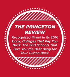 The Princeton Review recognized Miami as a top 200 school 'college that pays you back' in 2016