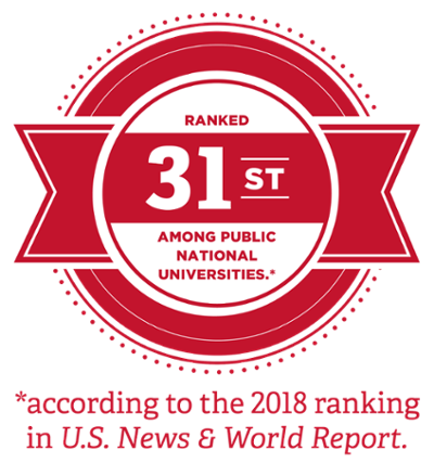 Ranked 31st among public national universities according to U.S. News and World Report