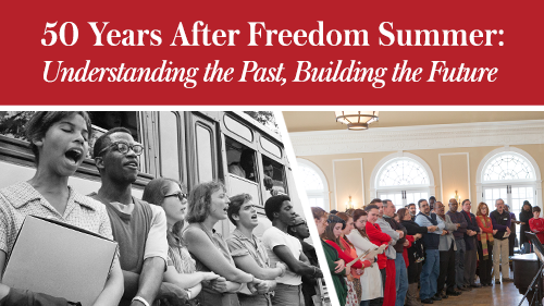 50 years After Freedom Summer: Understand the Past, Building the Future. 1963 photo and 2014 photo of people holding hands