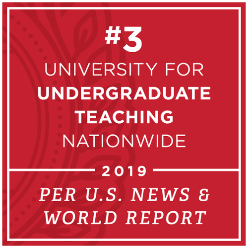 Number 3 university for undergraduate teaching nationwide. U.S. News and world report 2019.
