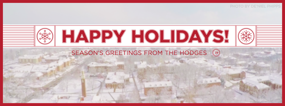 Happy Holidays! Season's greetings from the Hodges » Aerial photo of the snow covered campus