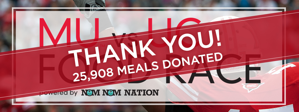 Thank you! 25,908 meals donated! MU vs UC Food Race powered by Nom Nom Nation. Background photo of Miami football player raising hands above his head
