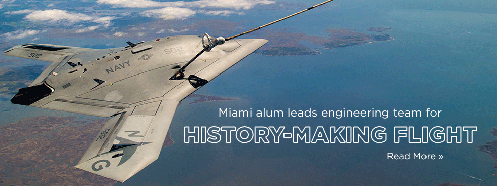 miami alum leads engineering team for history-making flight. Read more » Photo of an aircraft refueling in the air above a lake