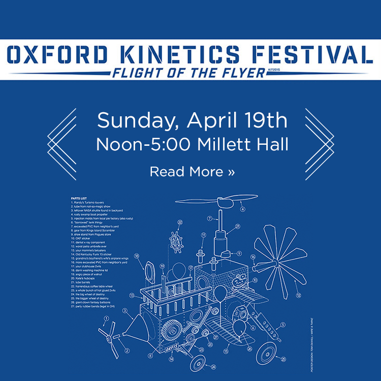 Oxford Kinetics Festival. Flight of the Flyer. Sunday, April 19th. Noon-5:00 Millett Hall. Read More » Blueprint of a fictional flying machine