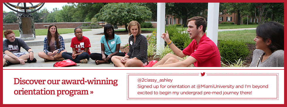 Discover our award-winner orientation program » @2classy_ashley. Signed up for orientation at @MiamiUniversity and I'm beyond excited to begin my undergrad pre-med journey there! Photo of an orientation group sitting in a circle on the sidewalk that leads to the Miami sundial having a discussion.