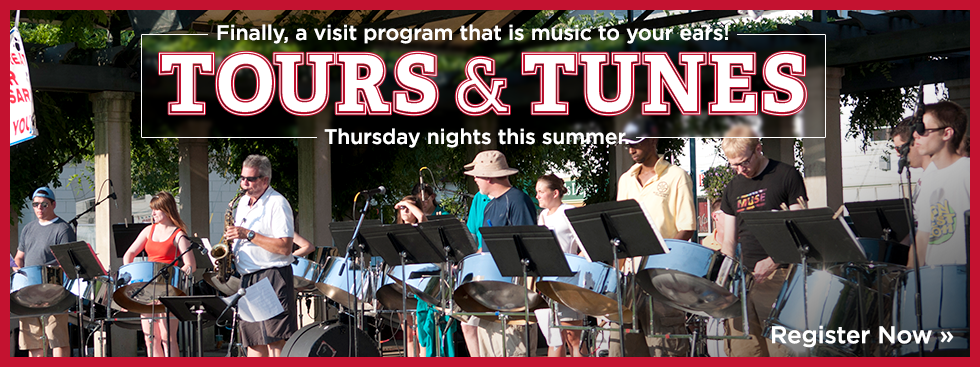 Musicians playing music outside on a stage with the text Finally, a visit program that is music to your ears! Tours and Tunes - Thursday nights this summer. Register now.