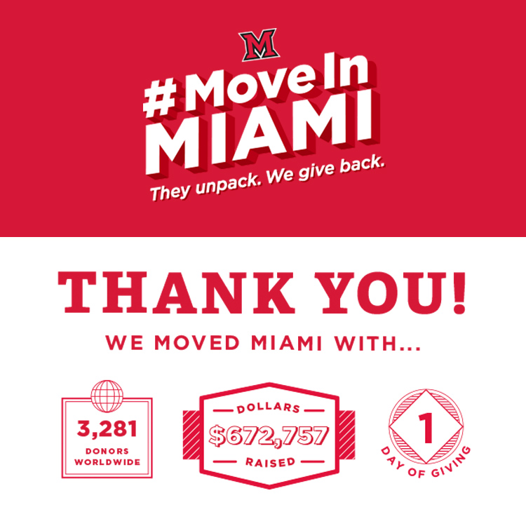 Move In Miami They unpack. We give back. Thank You. We moved Miami with...3,281 donors worldwide, 672, 757 dollars raised in 1 day of giving