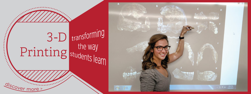 3d Printing: transforming the way students learn. Discover more » Photo of a student holding a 3d printed replica of a fossil
