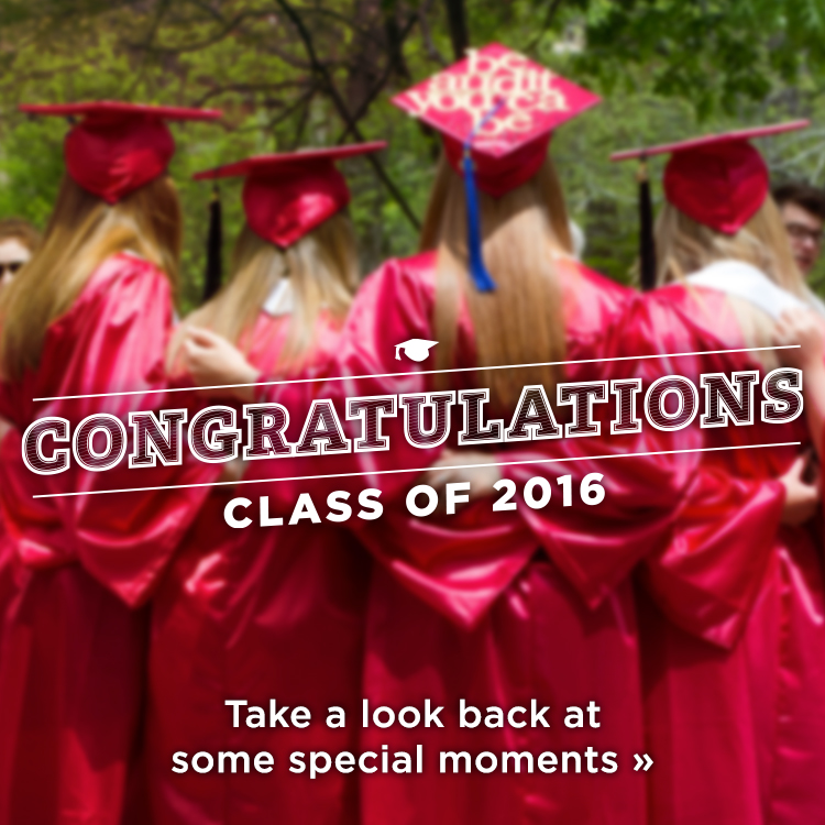Congratulations class of 2016. Take a look back at some special moments » Photo of graduates with their arms around each other wearing in red caps and gowns