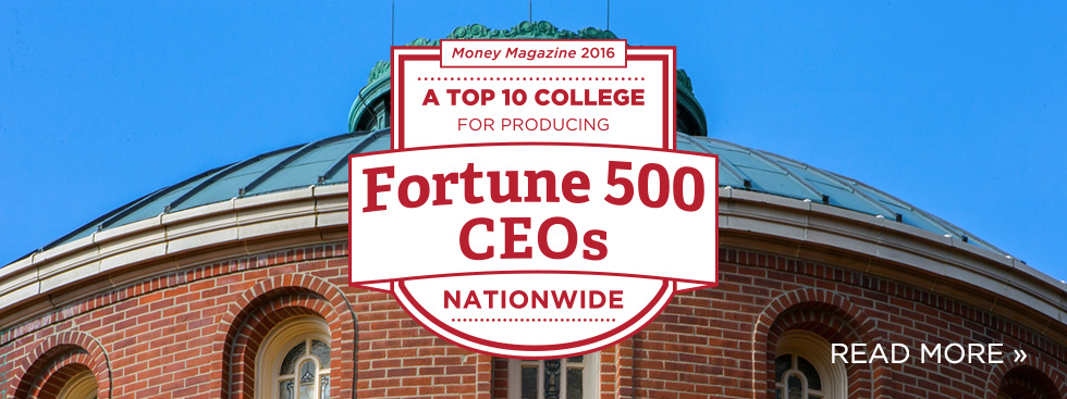 A top 10 college for producing Fortune 500 CEOs nationwide. Money Magazine 2016. Read more » Photo of the exterior of a brick rotunda