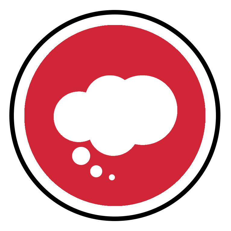 A red circle icon with a cloud thought bubble.