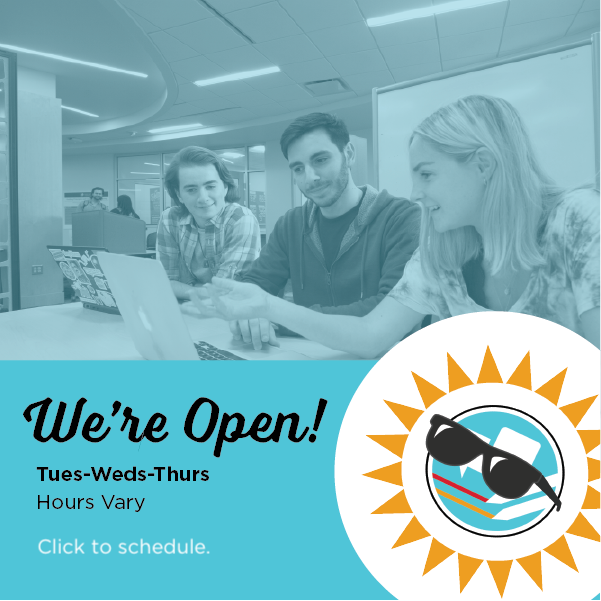 We're Open! Tuesday, Wednesday, Thursday. Hours vary. Click to schedule..