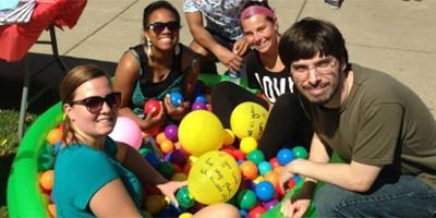 Miami Hamilton Fall Fest students in ball pit