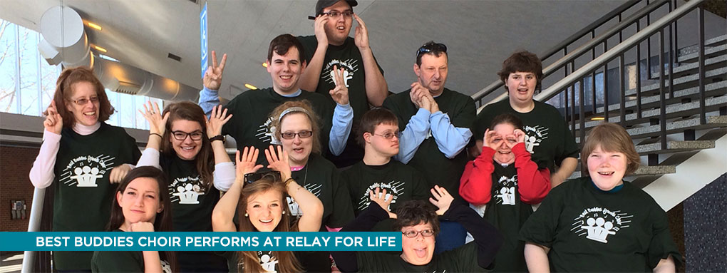 Best buddies choir performs at relay for life