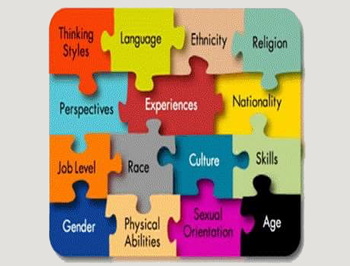 A square of colorful interlocking puzzle pieces labeled with words such as Thinking Styles, Language, Ethnicity, Religion, Perspectives, Experiences, Nationality, etc.