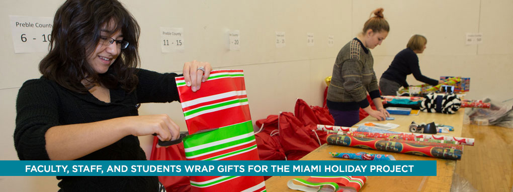 Wrapping gifts for Miami holiday project