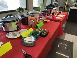 Table of chili-filled crock pots