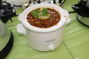 Crock pot of chili