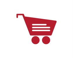 red grocery cart graphic