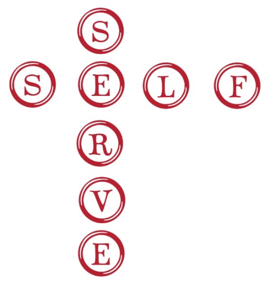 self serve in red letters