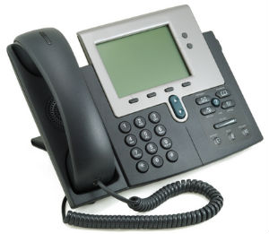 A Cisco 7941 desk phone