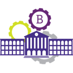 banner logo showing a school building and gears in the background