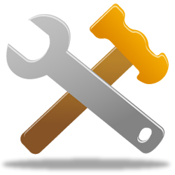 Hammer and wrench crossed graphic
