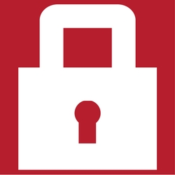 A white padlock on a red background to designate security