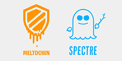 an orange melting shield and blue ghost, logos of the Meltdown and Spectre chip flaws