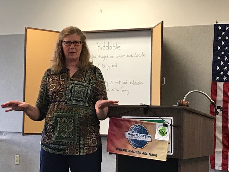 Holly Gage speaking at an Oxford Toastmasters meeting