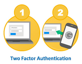 A yellow circle listed as one showing a laptop computer. Next to it is a yellow circle listed as two showing a laptop computer and a smartphone with the Google Authenticator logo. Below the two circles are the words Two Factor Authentication.