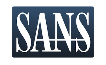A blue box with the word SANS written in white text