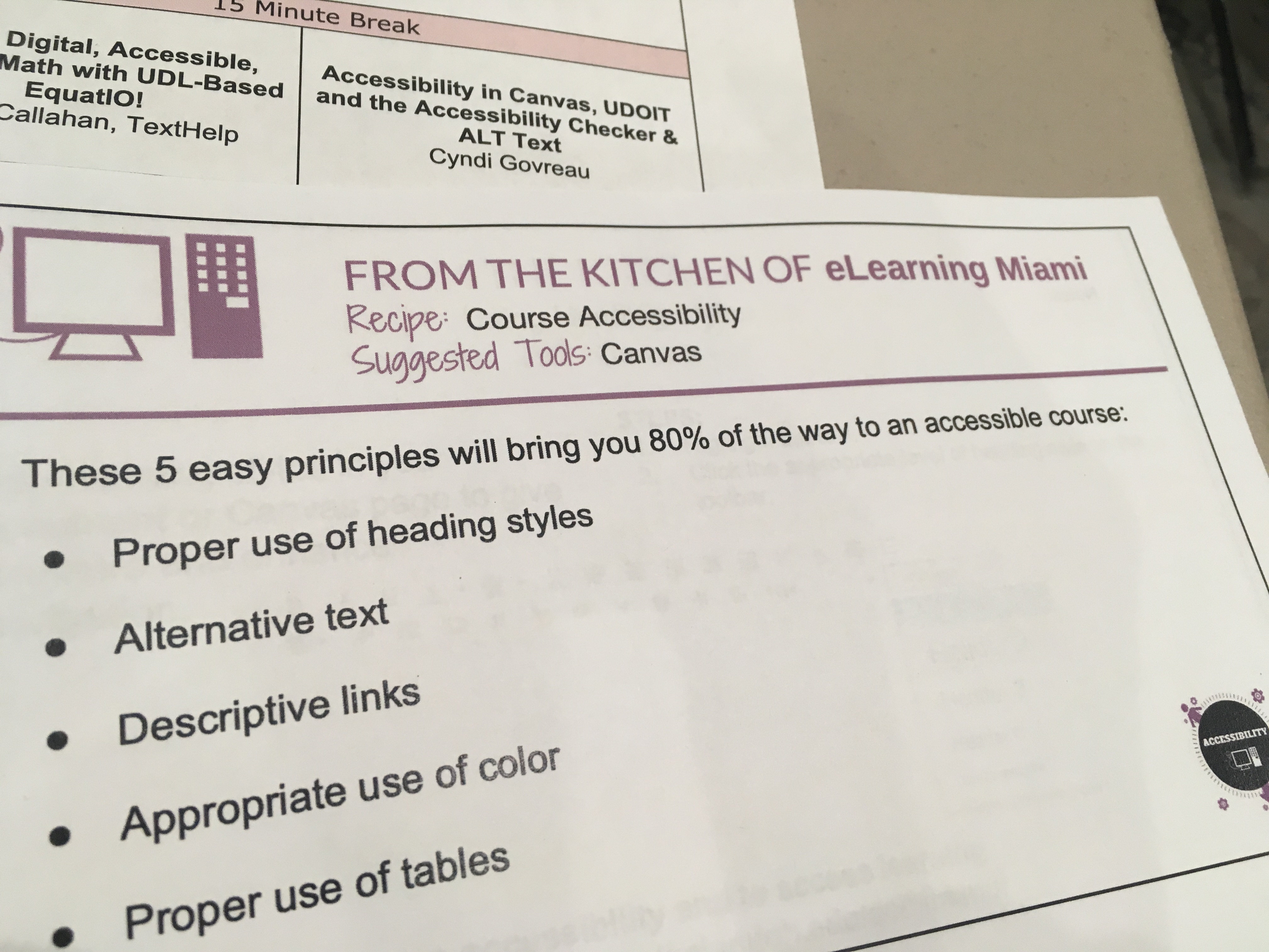 A card handed out by the elearning folks about a recipe for accessibility.
