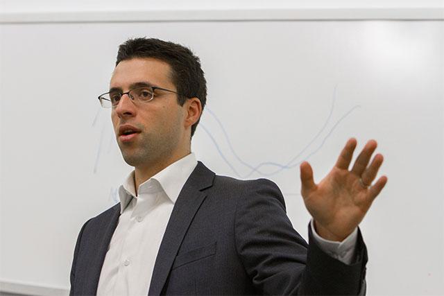 Ezra Klein speaking to a class