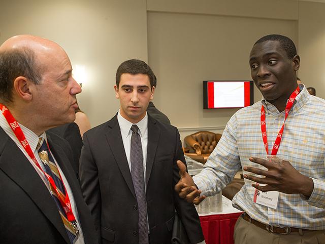 Ari Fleischer speaking to students at the Janus Forum reception