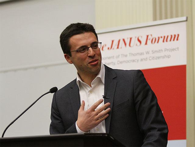 Ezra Klein speaking at Janus Forum
