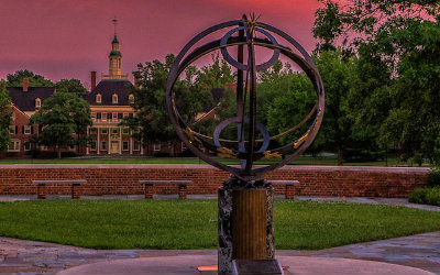 Sundial at sunset at MacCracken Hall