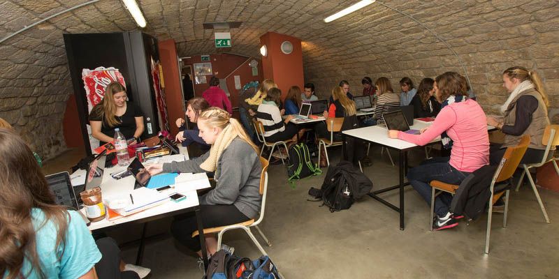 Students study and eat in the CAVE