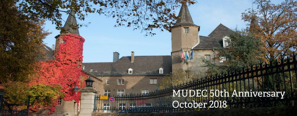 Exterior view of the Chateau. Text: MUDEC 50th Anniversary, October 2018
