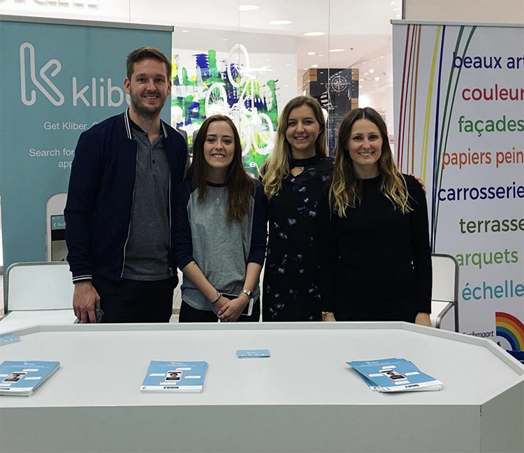 MUDEC students pose at a local start-up company, Kliber in Luxembourg City.