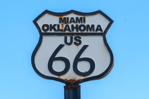 US Route 66 road sign with Miami Oklahoma on it