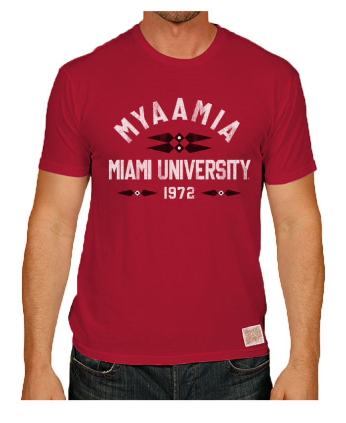Red t-shirt. Design includes the ribbonwork mark. The word 'myaamia' arches over the words 'Miami University 1972'
