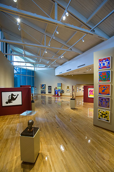 A view of art on display.