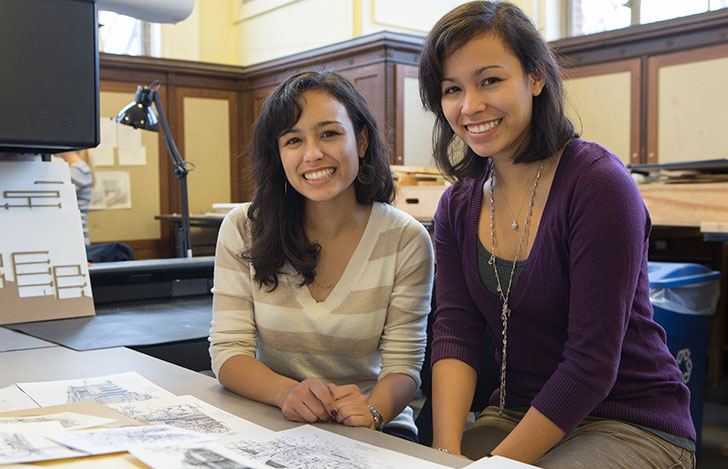 The Delgado sisters, Sophia (left) and Madelyn, created pen-and-ink sketches for the Great Seal book.
