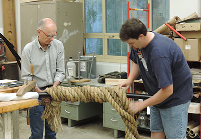 Making the rope for the seal.