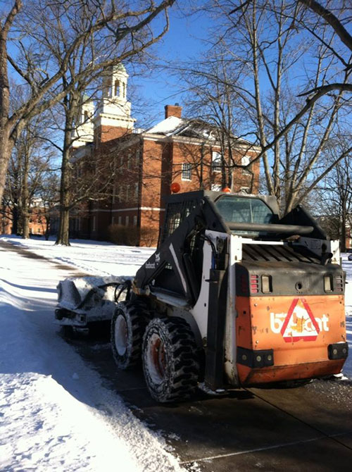 Photo of Bobcat clearing snow from campus
