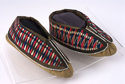 Moccasins featuring ribbonwork.
