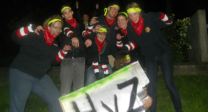 A zombie squad at Miami in 2012. Student Kate Schindler is pictured far right. (Photo provided by Kate Schindler.)