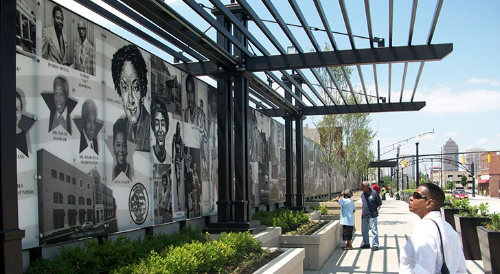 Motorists and pedestrians can view the Cultural Wall co-designed by Larry Winston Collins. (Photo provided by Collins.)